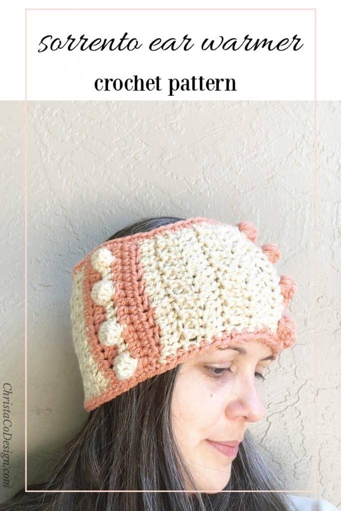 Pin image woman in crochet earwarmer.