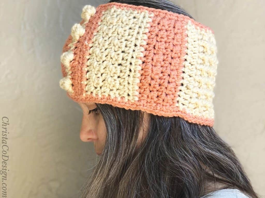 Side view of textured ear warmer.