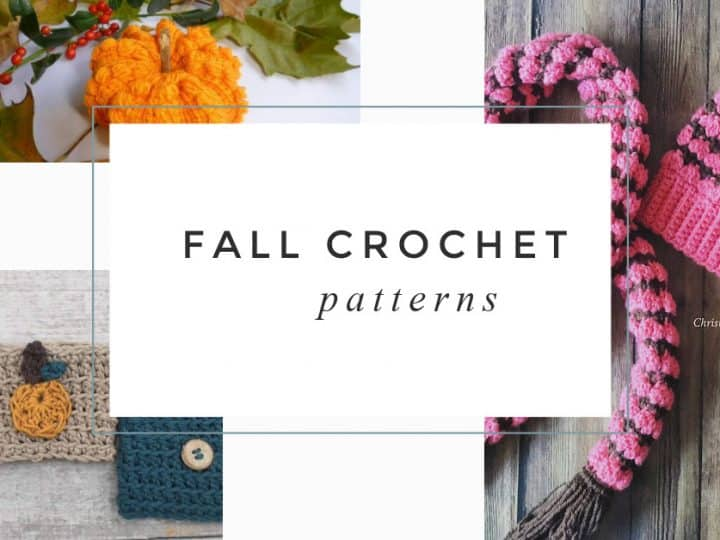 Collage of fall crochet patterns.