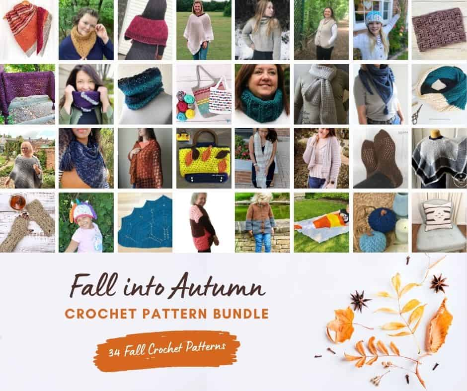 Collage of crochet pattern bundle.