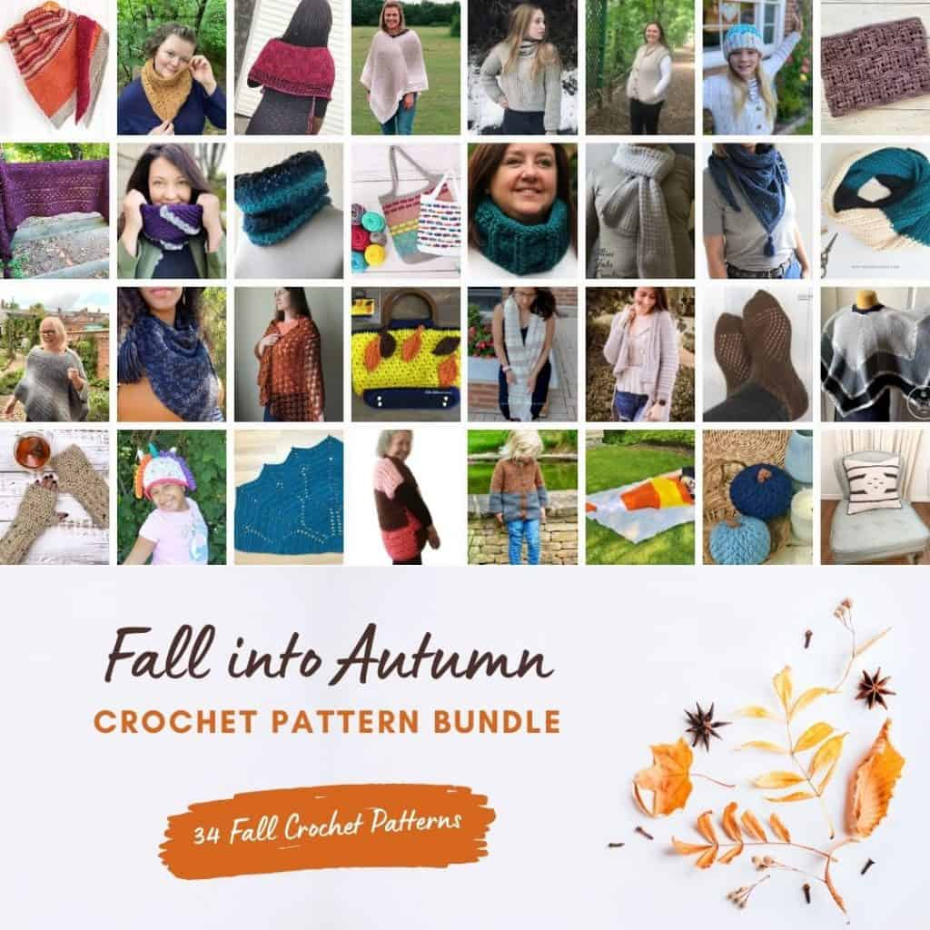 Collage of crochet patterns in pattern bundle fall into autumn sale.
