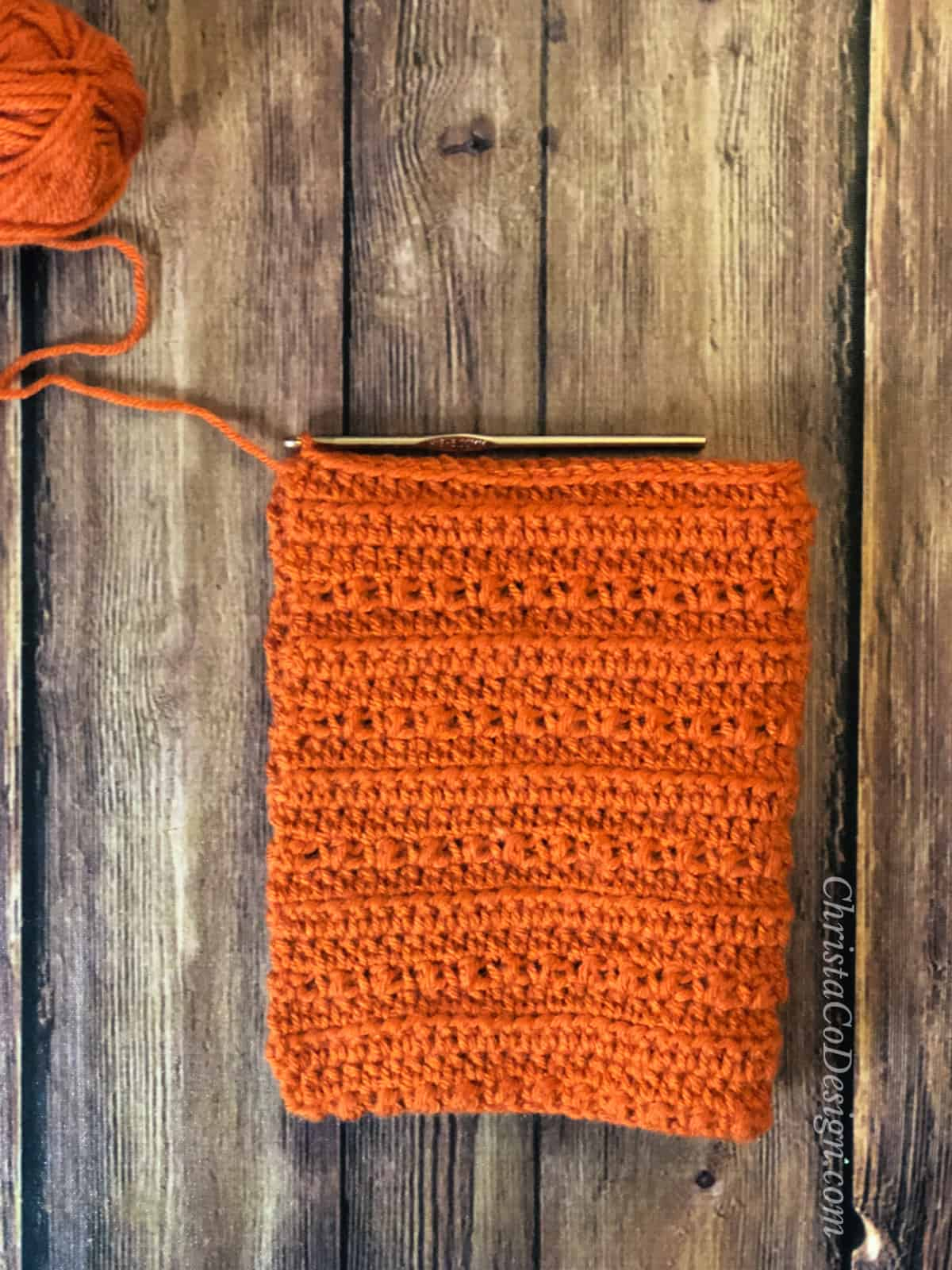 Folded rectangle for seaming crochet pixie hat pattern.