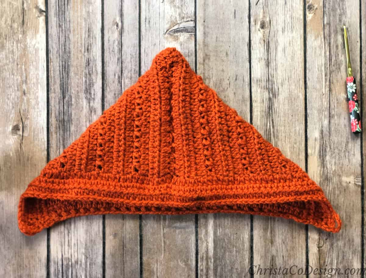 Seamed and folded crochet pixie hat pattern.
