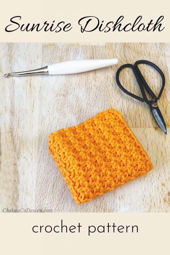 Crochet dishcloth pattern in orange cotton yarn with sunburst texture.