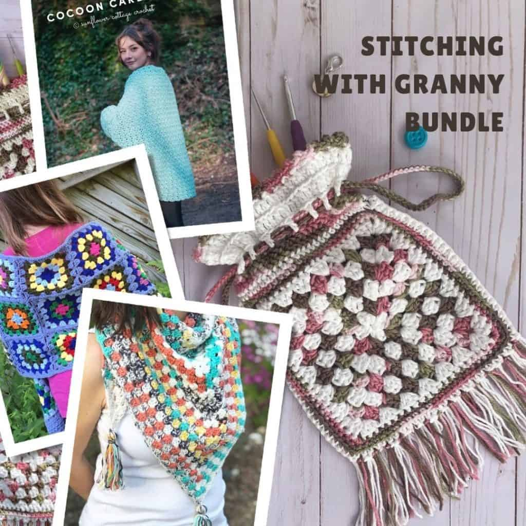 Collage of scarf, bag and shawl granny patterns.