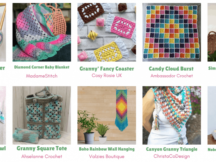 Collage of crochet granny square patterns.