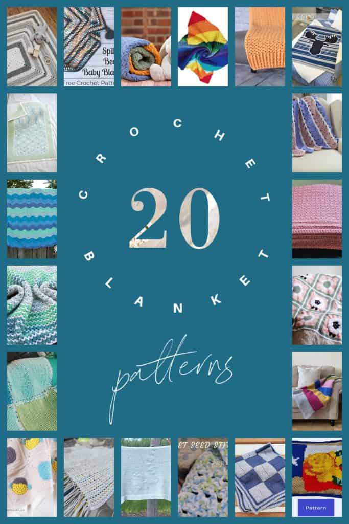Pin collage of 20 modern crochet blanket patterns.