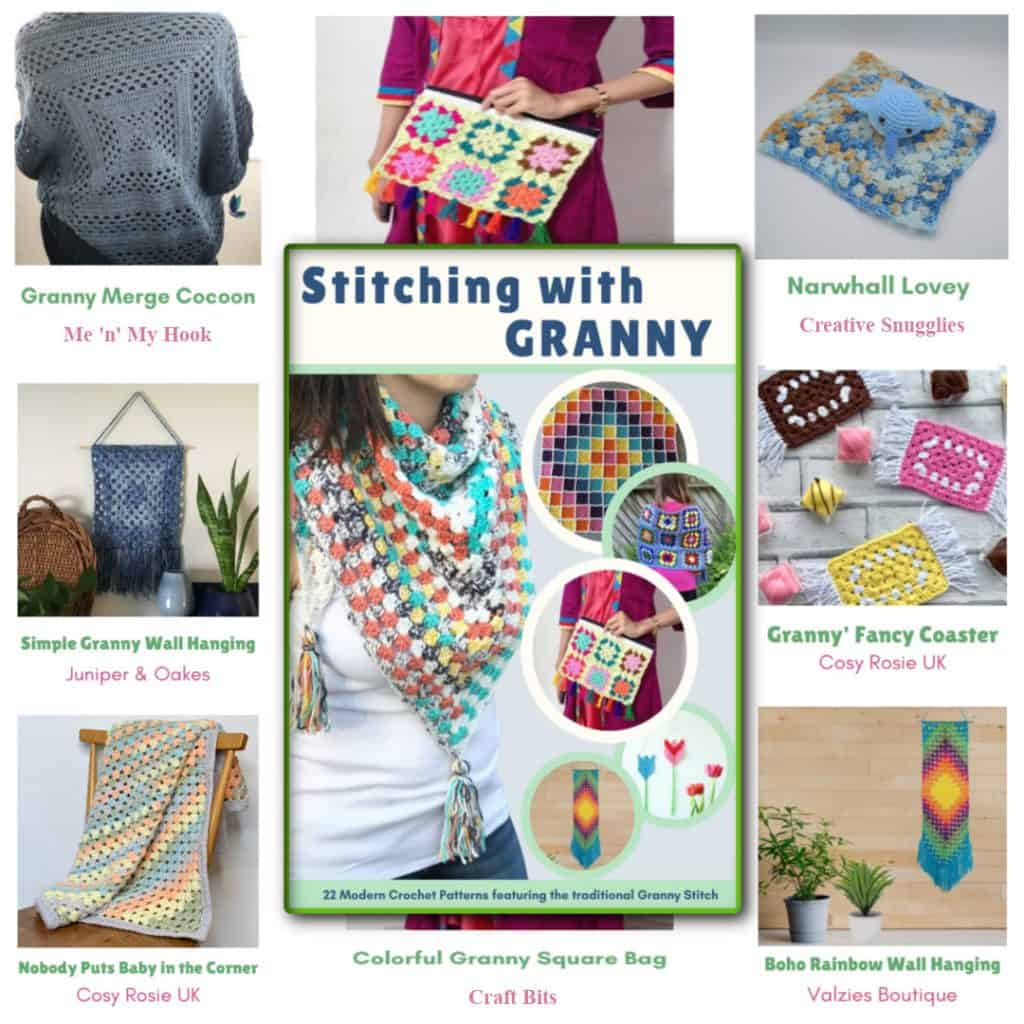 Granny stitch crochet pattern bundle image collage.