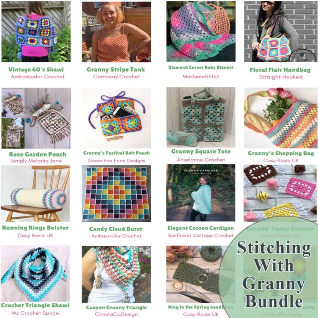 Square collage of the patterns in the crochet granny stitch bundle.
