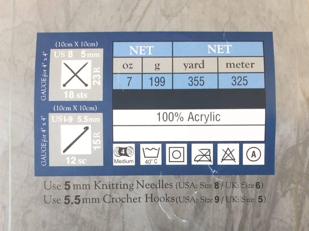Yarn label with crochet gauge information.