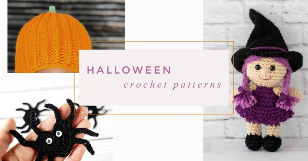 Collage of crochet patterns for halloween-pumpkin hat, spider and witch.