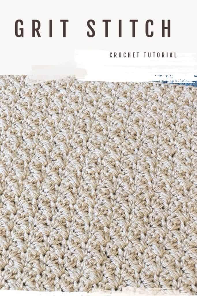 Crochet swatch in grit stitch beige cotton yarn with text.