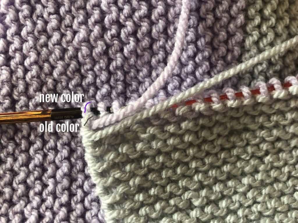 Striped knit blanket color change complete.
