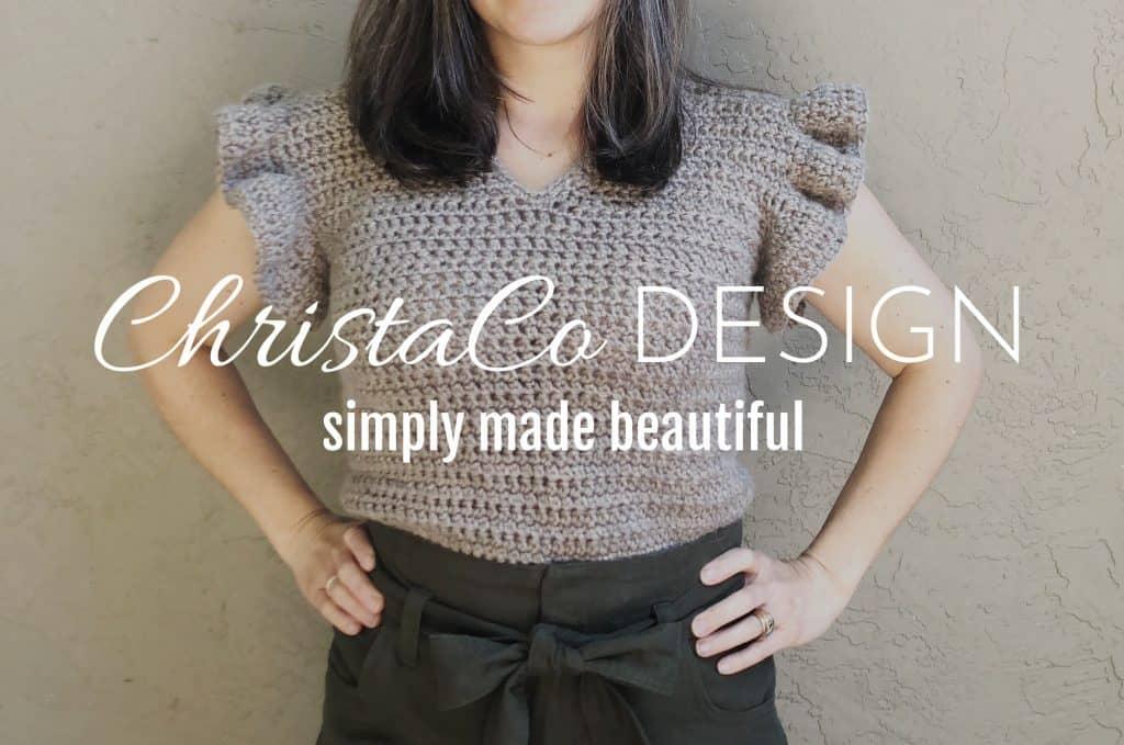 ChristaCoDesign Logo overlay on crochet women's top pattern with ruffle sleeves.