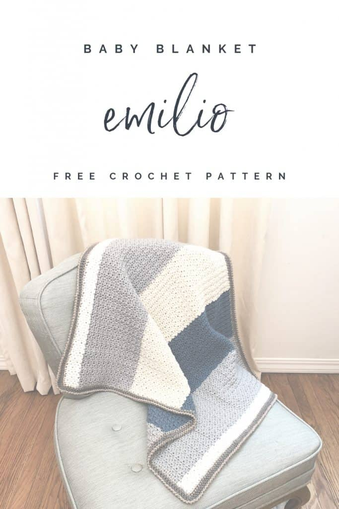 Pin image of crochet baby blanket with text free crochet pattern Emilio baby blanket.