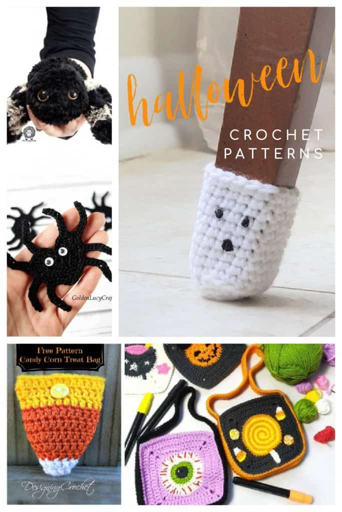 Collage of halloween themed crochet projects.