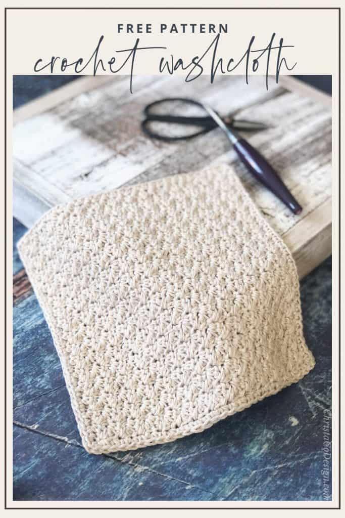 PIN IMAGE crochet washcloth pattern in beige cotton yarn.