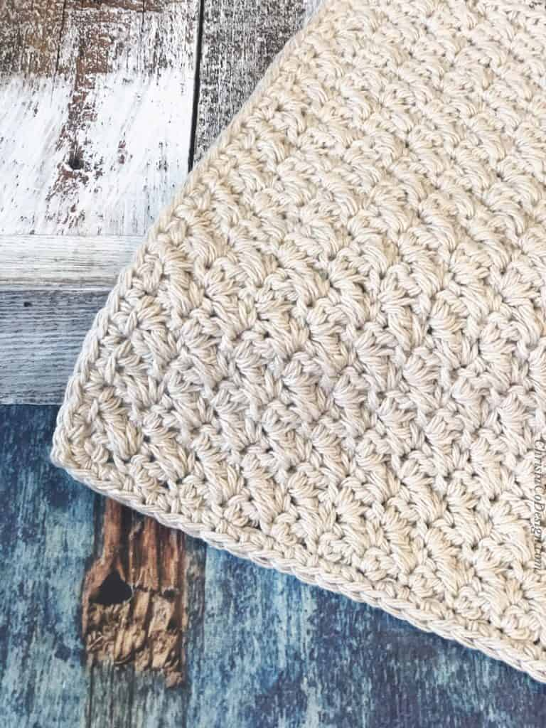 Corner of crochet washcloth pattern.