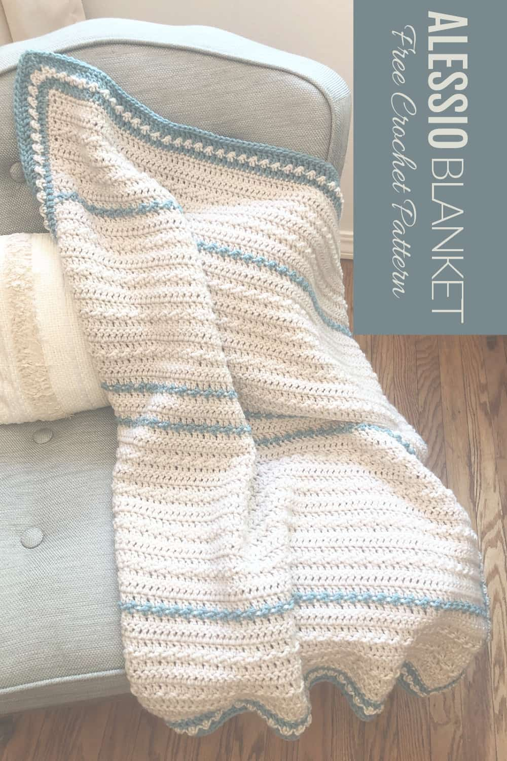 Pin image of crochet baby blanket on chair.