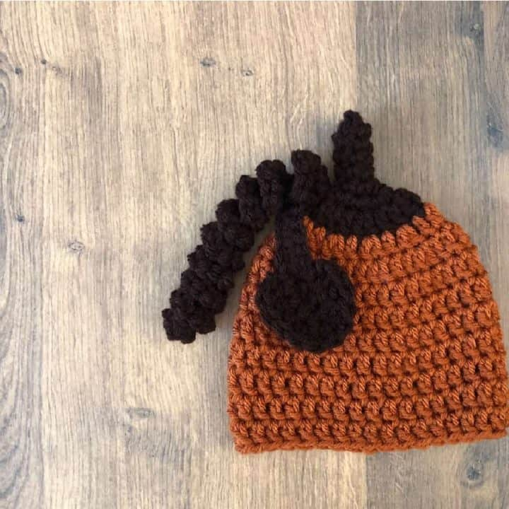 Crochet pumpkin beanie in rust and brown with stem, leaf and vine.